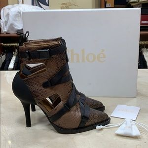 NIB CHLOE SHORT BOOTS IN WATER SNAKE 🐍 LEATHER